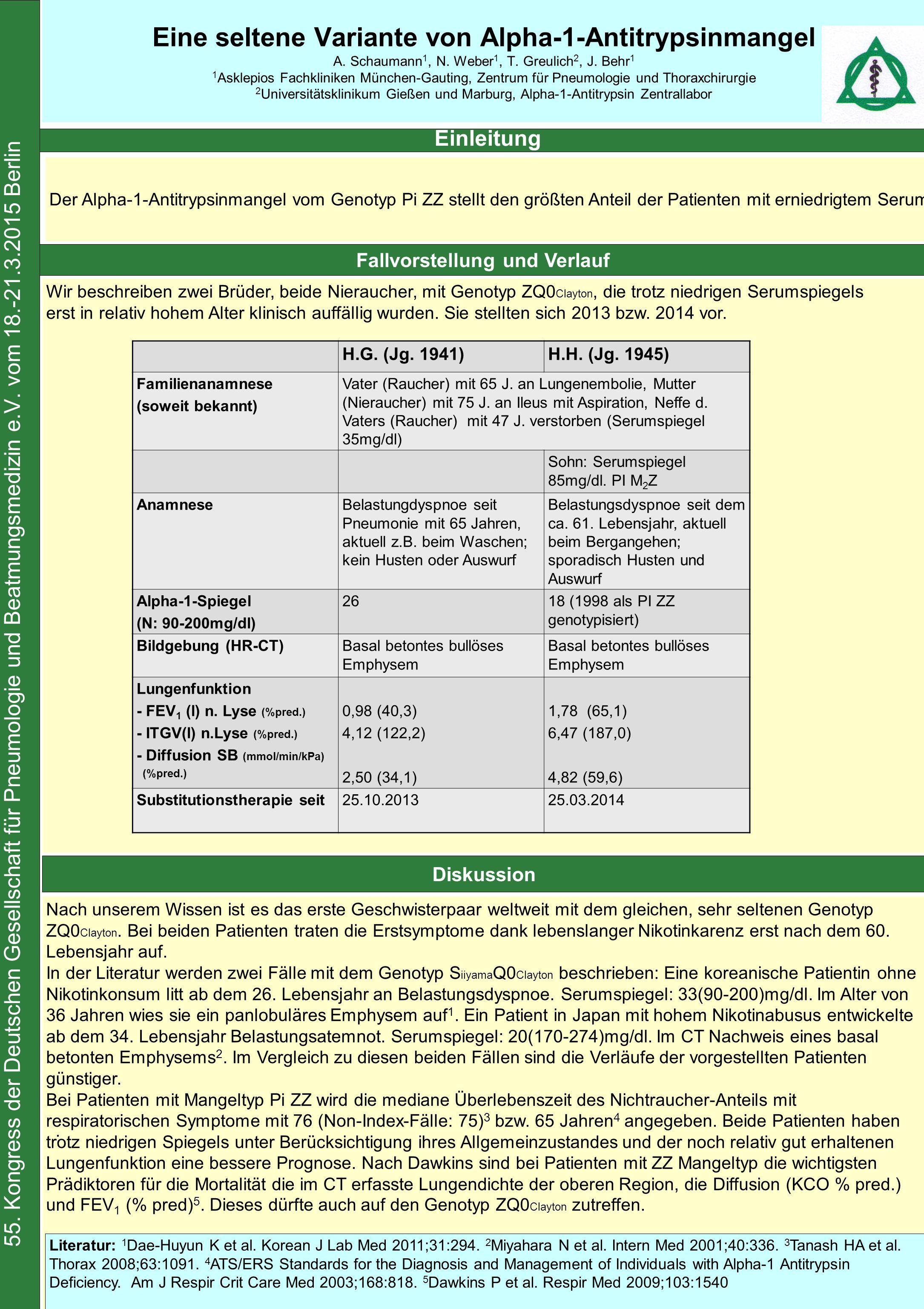 Fallvorstellung und Verlauf Eine seltene Variante von Alpha-1-Antitrypsinmangel A.