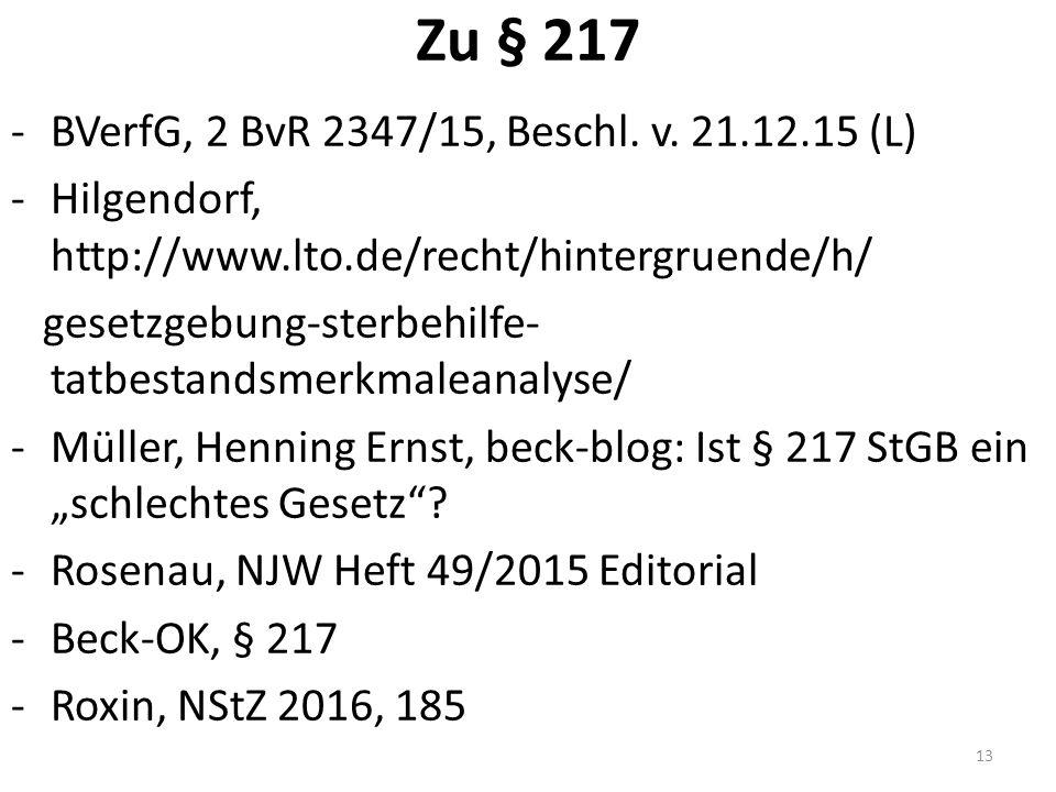 Zu § 217 -BVerfG, 2 BvR 2347/15, Beschl. v.