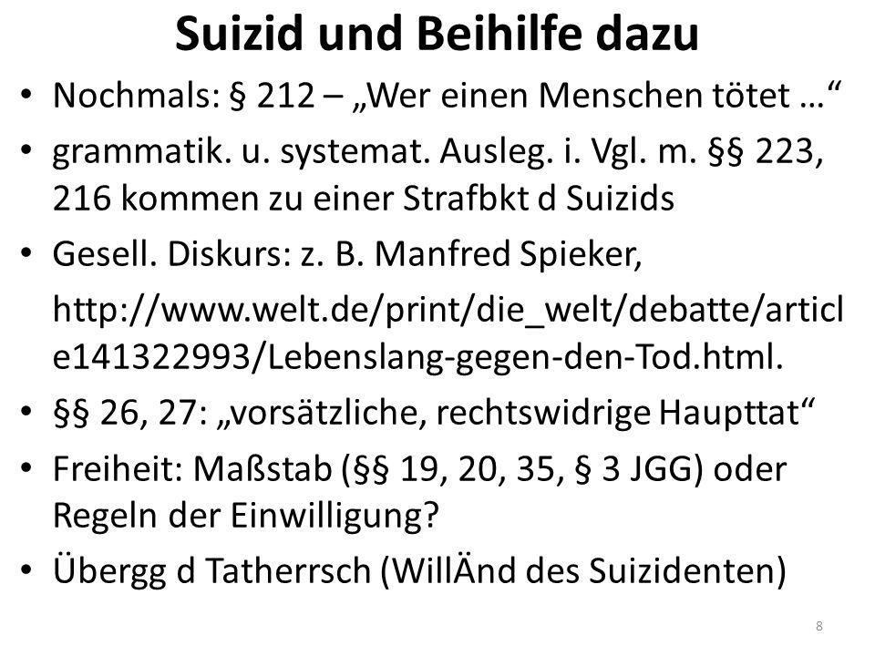 """Suizid und Beihilfe dazu Nochmals: § 212 – """"Wer einen Menschen tötet …"""" grammatik. u. systemat. Ausleg. i. Vgl. m. §§ 223, 216 kommen zu einer Strafbk"""