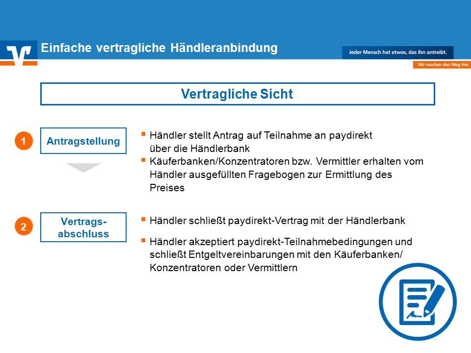 Diagramm Text / Bild BildText Diagramm Ende Diagramm Text / Bild Einfache vertragliche Händleranbindung  Händler stellt Antrag auf Teilnahme an paydirekt über die Händlerbank  Käuferbanken/Konzentratoren bzw.