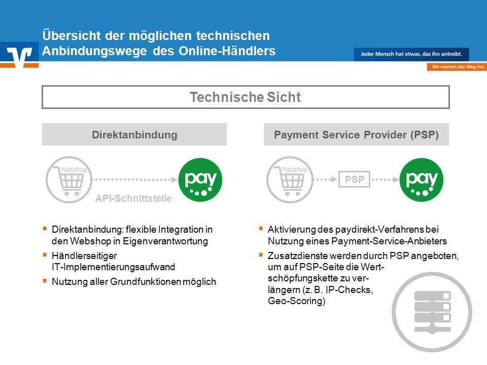 Diagramm Text / Bild BildText Diagramm Ende Diagramm Text / Bild Übersicht der möglichen technischen Anbindungswege des Online-Händlers API-Schnittstelle Direktanbindung  Direktanbindung: flexible Integration in den Webshop in Eigenverantwortung  Händlerseitiger IT-Implementierungsaufwand  Nutzung aller Grundfunktionen möglich Payment Service Provider (PSP)  Aktivierung des paydirekt-Verfahrens bei Nutzung eines Payment-Service-Anbieters  Zusatzdienste werden durch PSP angeboten, um auf PSP-Seite die Wert- schöpfungskette zu ver- längern (z.