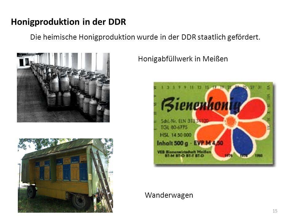 Honigproduktion in der DDR Die heimische Honigproduktion wurde in der DDR staatlich gefördert.