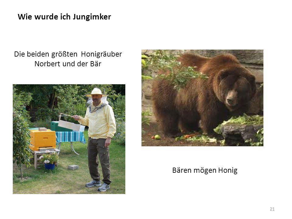 Wie wurde ich Jungimker 21 Die beiden größten Honigräuber Norbert und der Bär Bären mögen Honig