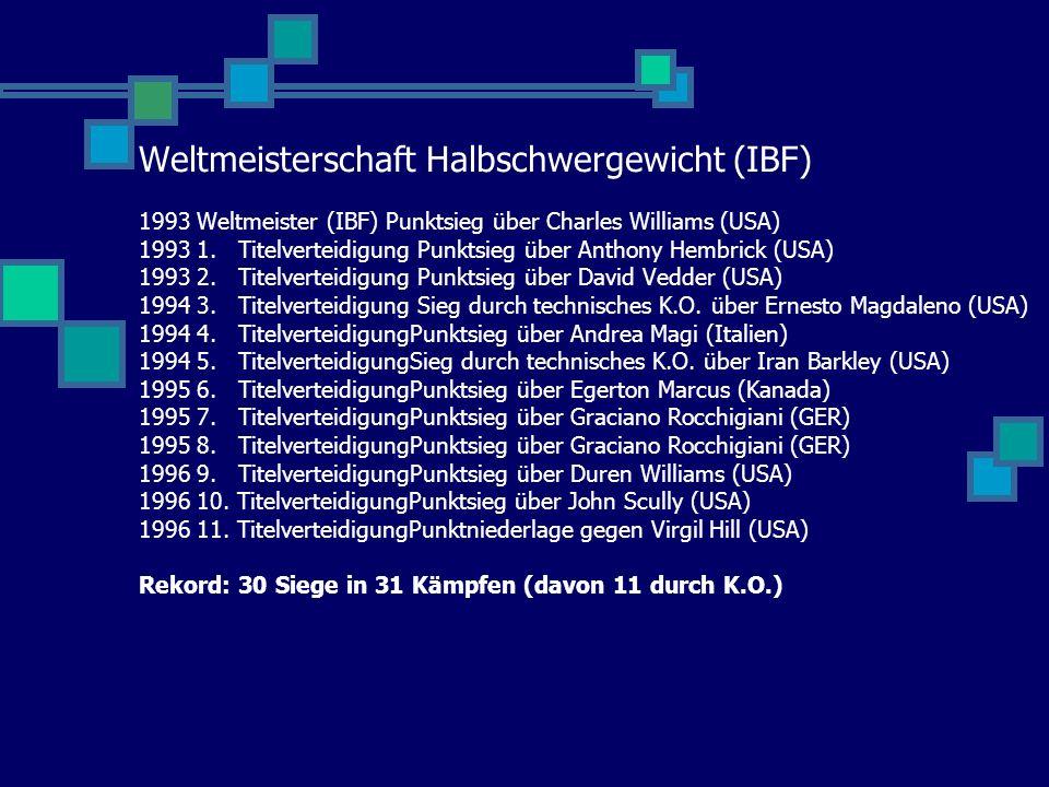 Weltmeisterschaft Halbschwergewicht (IBF) 1993 Weltmeister (IBF) Punktsieg über Charles Williams (USA) 1993 1.