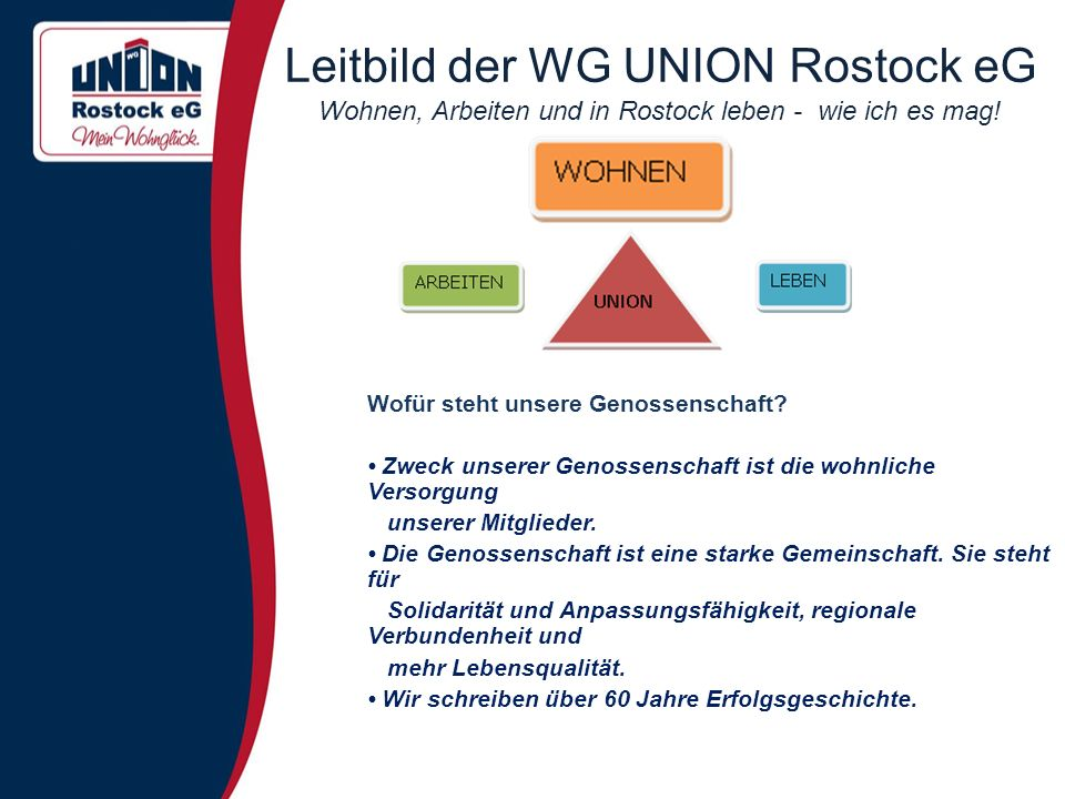 Leitbild der WG UNION Rostock eG Wohnen, Arbeiten und in Rostock leben - wie ich es mag! Wofür steht unsere Genossenschaft? Zweck unserer Genossenscha