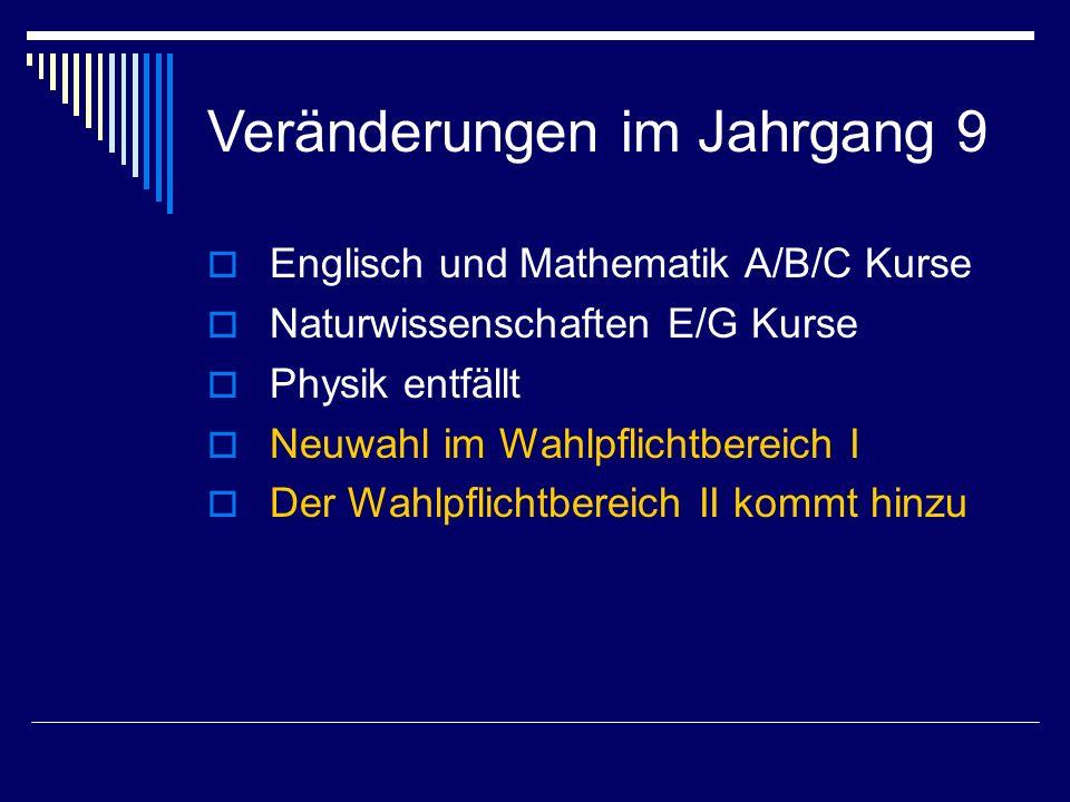 Veränderungen im Jahrgang 9  Englisch und Mathematik A/B/C Kurse  Naturwissenschaften E/G Kurse  Physik entfällt  Neuwahl im Wahlpflichtbereich I  Der Wahlpflichtbereich II kommt hinzu