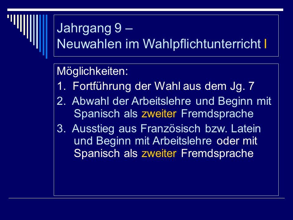 Jahrgang 9 – Neuwahlen im Wahlpflichtunterricht I Möglichkeiten: 1.