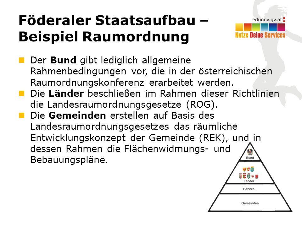 Föderaler Staatsaufbau – Beispiel Raumordnung Der Bund gibt lediglich allgemeine Rahmenbedingungen vor, die in der österreichischen Raumordnungskonferenz erarbeitet werden.
