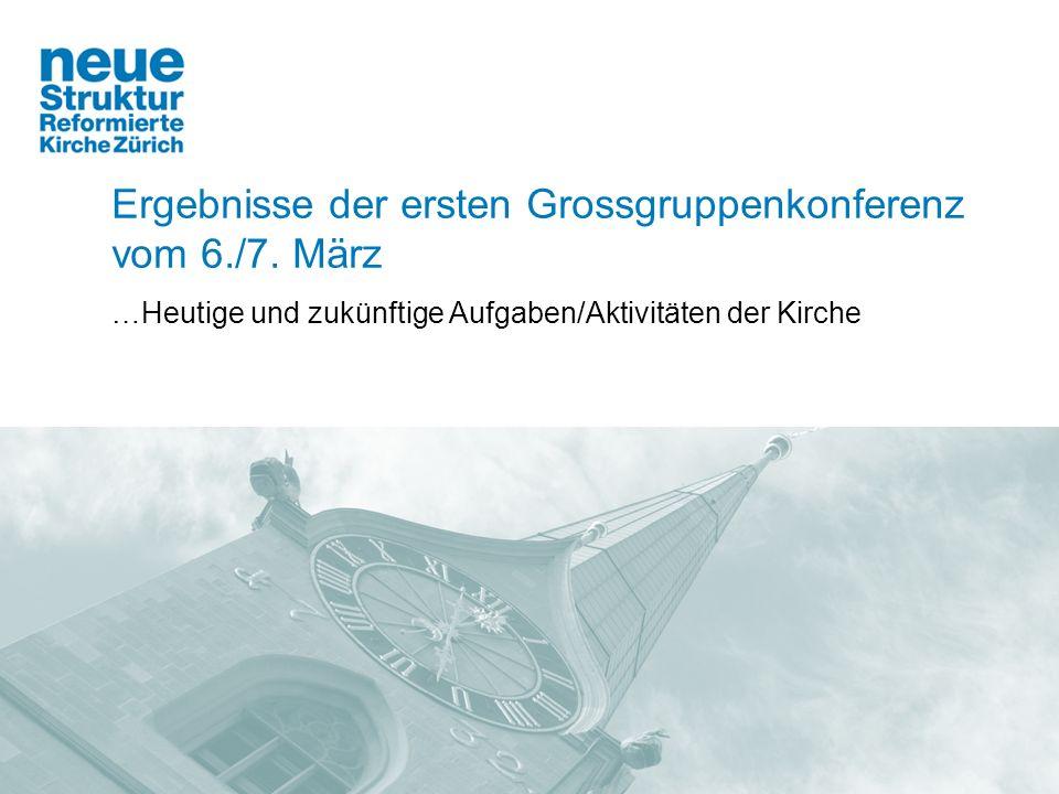 Ergebnisse der ersten Grossgruppenkonferenz vom 6./7. März …Heutige und zukünftige Aufgaben/Aktivitäten der Kirche