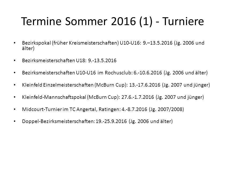 Termine Sommer 2016 (1) - Turniere Bezirkspokal (früher Kreismeisterschaften) U10-U16: 9.–13.5.2016 (Jg. 2006 und älter) Bezirksmeisterschaften U18: 9