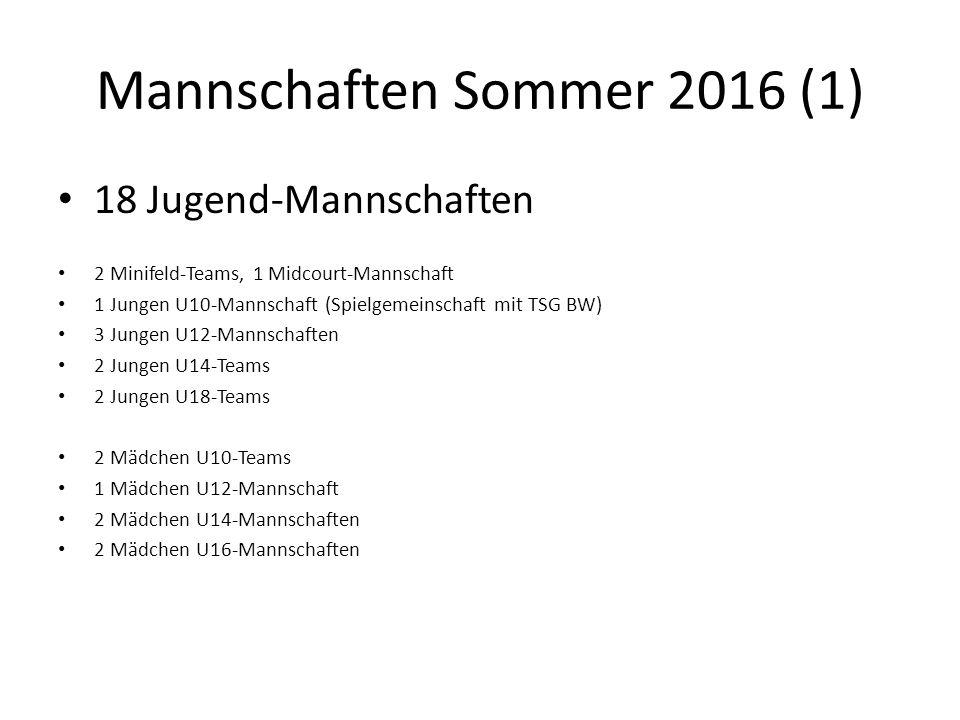 Mannschaften Sommer 2016 (1) 18 Jugend-Mannschaften 2 Minifeld-Teams, 1 Midcourt-Mannschaft 1 Jungen U10-Mannschaft (Spielgemeinschaft mit TSG BW) 3 J