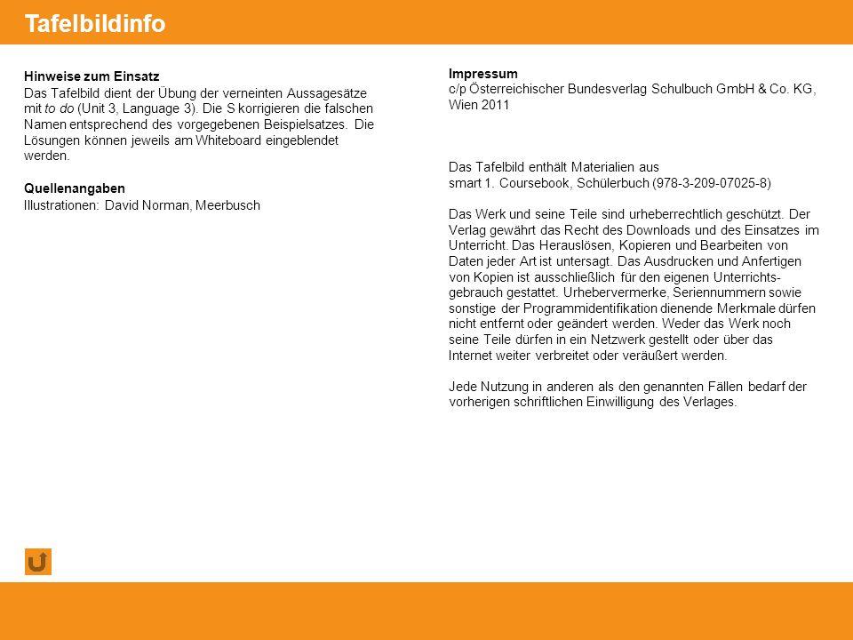 © Österreichischer Bundesverlag Schulbuch GmbH & Co. KG, Wien 2011 | www.oebv.at Hinweise zum Einsatz Das Tafelbild dient der Übung der verneinten Aus