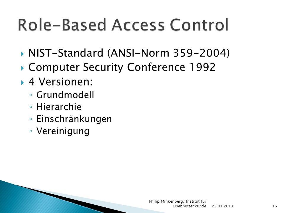  NIST-Standard (ANSI-Norm 359-2004)  Computer Security Conference 1992  4 Versionen: ◦ Grundmodell ◦ Hierarchie ◦ Einschränkungen ◦ Vereinigung 22.01.2013 Philip Minkenberg, Institut für Eisenhüttenkunde16