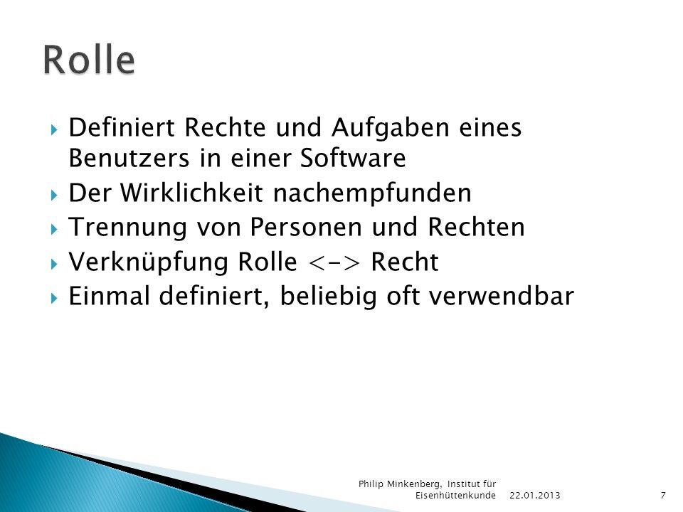 Rechtebasierter ZugriffRollenbasierter Zugriff Person 1 – Recht 1 22.01.2013 Philip Minkenberg, Institut für Eisenhüttenkunde8