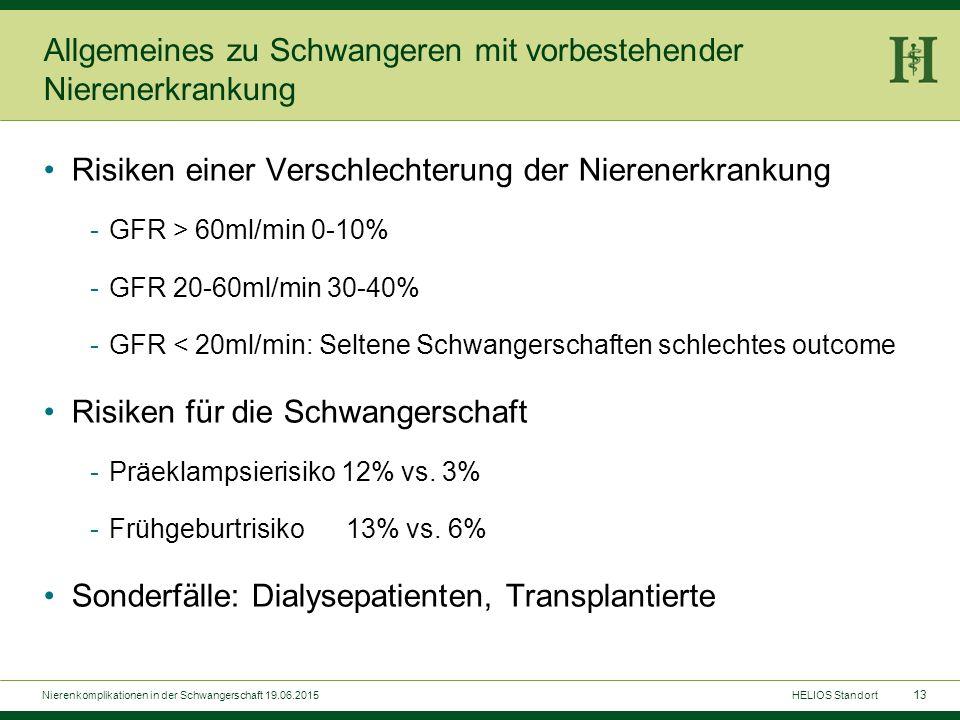 13 Allgemeines zu Schwangeren mit vorbestehender Nierenerkrankung Risiken einer Verschlechterung der Nierenerkrankung -GFR > 60ml/min 0-10% -GFR 20-60
