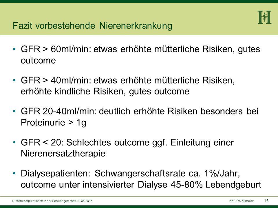 16 Fazit vorbestehende Nierenerkrankung GFR > 60ml/min: etwas erhöhte mütterliche Risiken, gutes outcome GFR > 40ml/min: etwas erhöhte mütterliche Ris