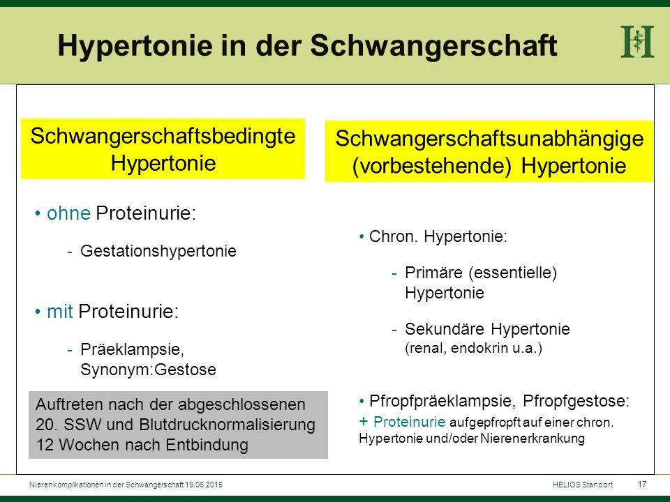 17 ohne Proteinurie: -Gestationshypertonie mit Proteinurie: -Präeklampsie, Synonym:Gestose Chron. Hypertonie: -Primäre (essentielle) Hypertonie -Sekun