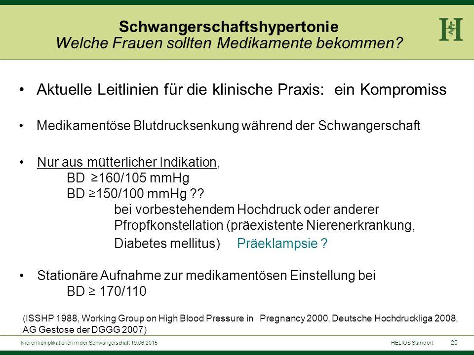 20 Aktuelle Leitlinien für die klinische Praxis: ein Kompromiss Medikamentöse Blutdrucksenkung während der Schwangerschaft Schwangerschaftshypertonie