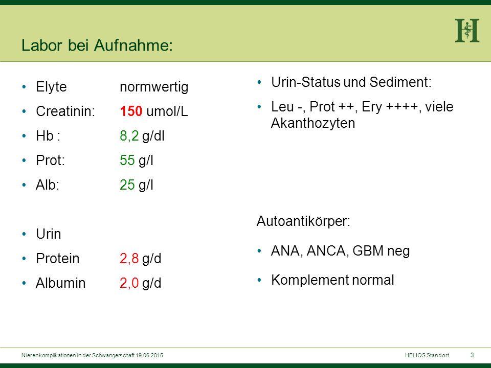 3 Labor bei Aufnahme: Urin-Status und Sediment: Leu -, Prot ++, Ery ++++, viele Akanthozyten Autoantikörper: ANA, ANCA, GBM neg Komplement normal Elyt