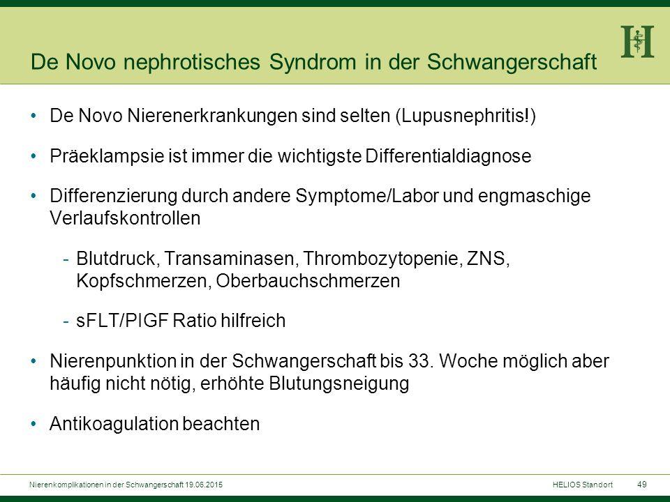 49 De Novo nephrotisches Syndrom in der Schwangerschaft De Novo Nierenerkrankungen sind selten (Lupusnephritis!) Präeklampsie ist immer die wichtigste
