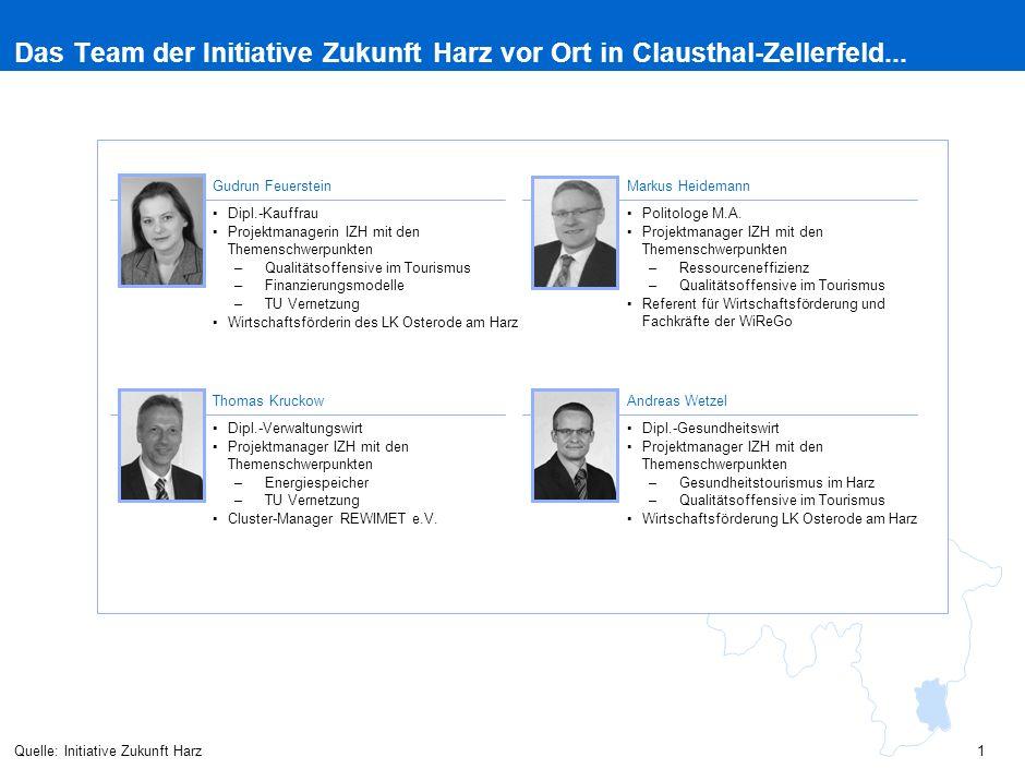 1 Das Team der Initiative Zukunft Harz vor Ort in Clausthal-Zellerfeld... ▪Dipl.-KauffrauDipl.-Kauffrau ▪Projektmanagerin IZH mit den Themenschwerpunk