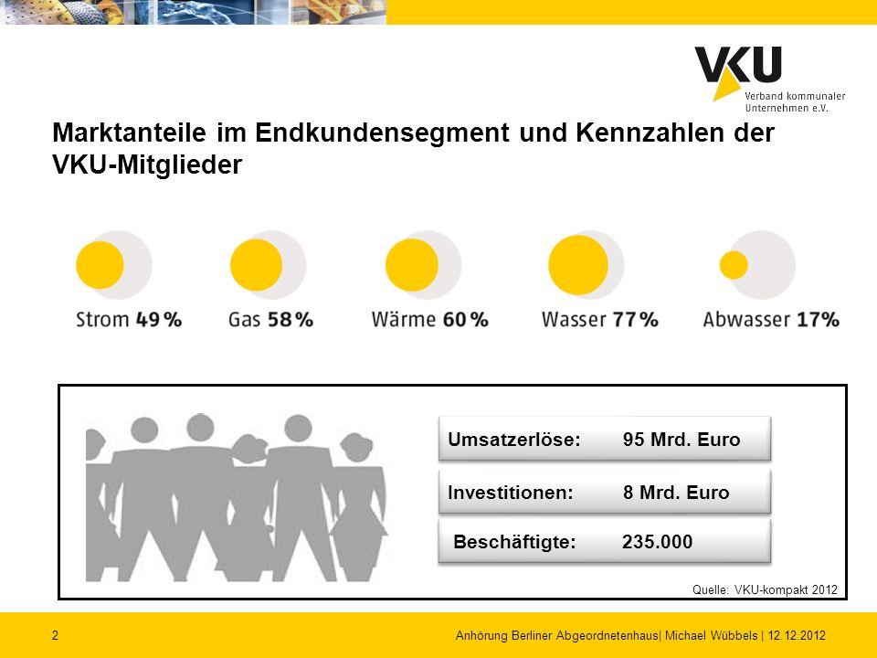 2 Marktanteile im Endkundensegment und Kennzahlen der VKU-Mitglieder Anhörung Berliner Abgeordnetenhaus| Michael Wübbels | 12.12.2012 Investitionen: 8