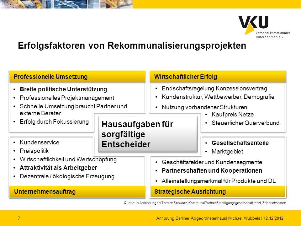 7 Erfolgsfaktoren von Rekommunalisierungsprojekten Anhörung Berliner Abgeordnetenhaus| Michael Wübbels | 12.12.2012 Hausaufgaben für sorgfältige Entsc