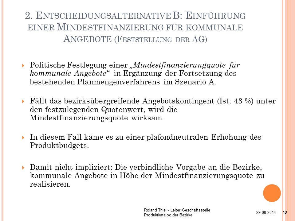 """ Politische Festlegung einer """" Mindestfinanzierungquote für kommunale Angebote in Ergänzung der Fortsetzung des bestehenden Planmengenverfahrens im Szenario A."""