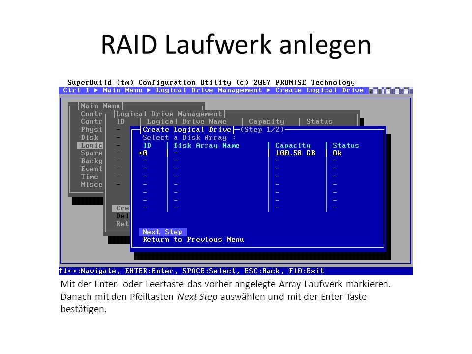 RAID Laufwerk anlegen Mit der Enter- oder Leertaste das vorher angelegte Array Laufwerk markieren. Danach mit den Pfeiltasten Next Step auswählen und