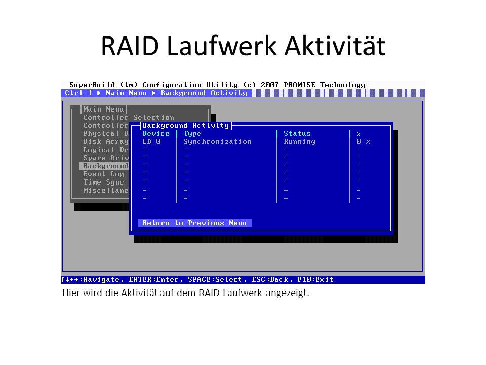 RAID Laufwerk Aktivität Hier wird die Aktivität auf dem RAID Laufwerk angezeigt.