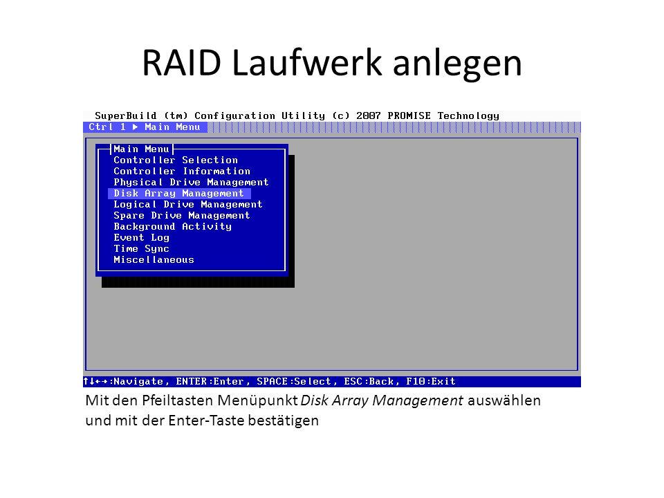 RAID Laufwerk anlegen Mit den Pfeiltasten Menüpunkt Disk Array Management auswählen und mit der Enter-Taste bestätigen