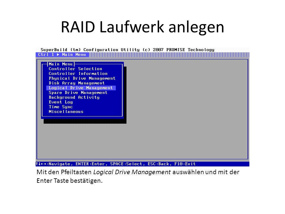 RAID Laufwerk anlegen Mit den Pfeiltasten Logical Drive Management auswählen und mit der Enter Taste bestätigen.