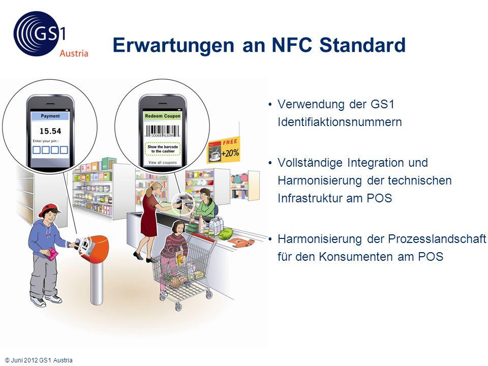 © Juni 2012 GS1 Austria Erwartungen an NFC Standard Verwendung der GS1 Identifiaktionsnummern Vollständige Integration und Harmonisierung der technischen Infrastruktur am POS Harmonisierung der Prozesslandschaft für den Konsumenten am POS