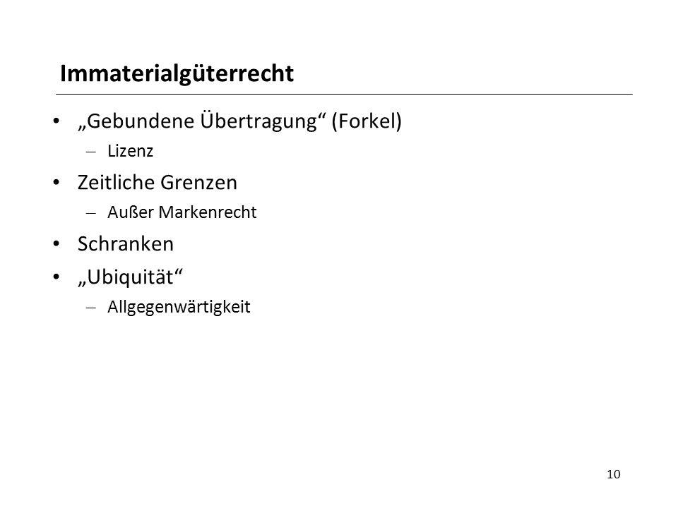 """Immaterialgüterrecht """"Gebundene Übertragung"""" (Forkel) – Lizenz Zeitliche Grenzen – Außer Markenrecht Schranken """"Ubiquität"""" – Allgegenwärtigkeit 10"""