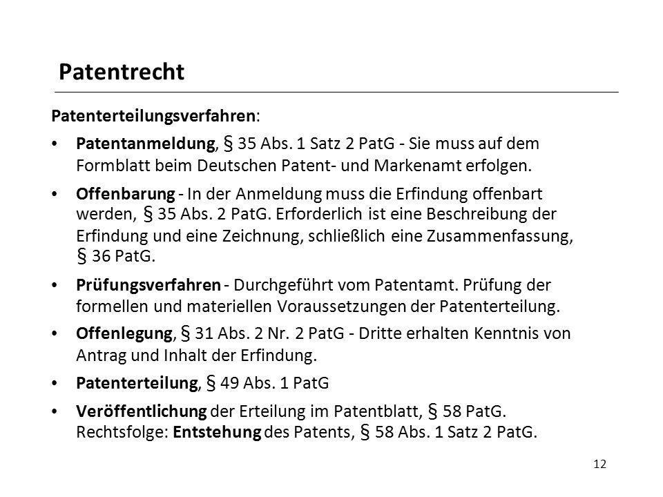 Patentrecht Patenterteilungsverfahren: Patentanmeldung, § 35 Abs.