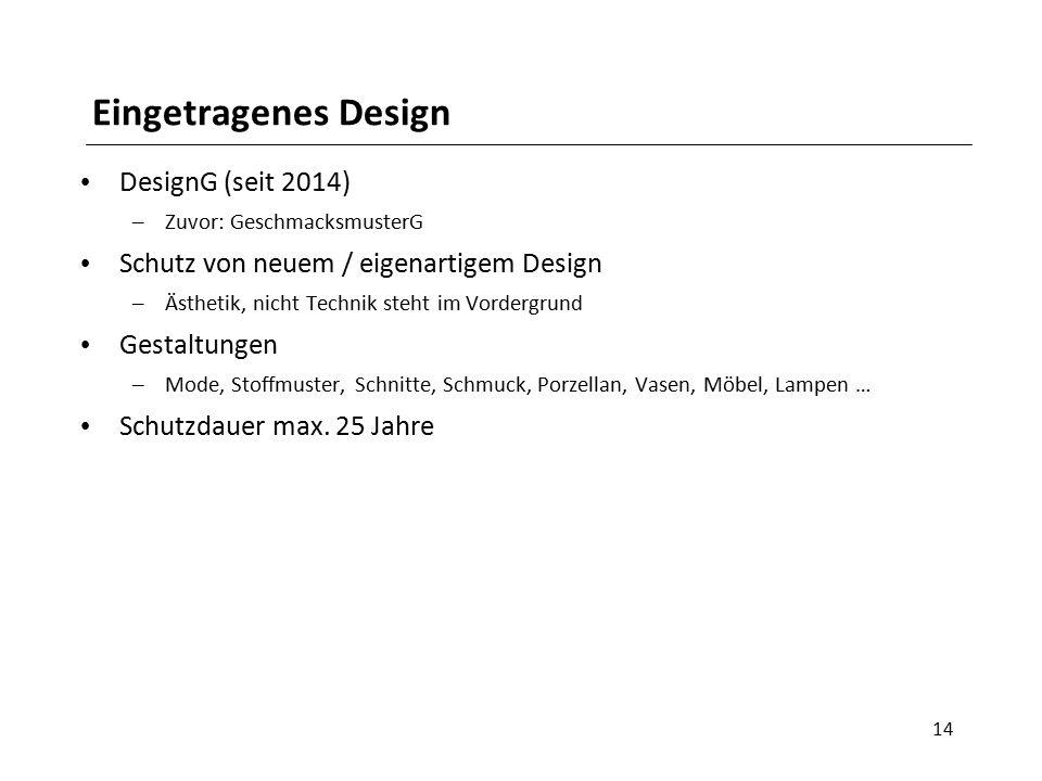 Eingetragenes Design DesignG (seit 2014) – Zuvor: GeschmacksmusterG Schutz von neuem / eigenartigem Design – Ästhetik, nicht Technik steht im Vordergr