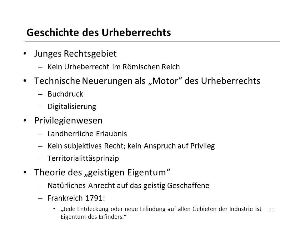 """Geschichte des Urheberrechts Junges Rechtsgebiet – Kein Urheberrecht im Römischen Reich Technische Neuerungen als """"Motor"""" des Urheberrechts – Buchdruc"""