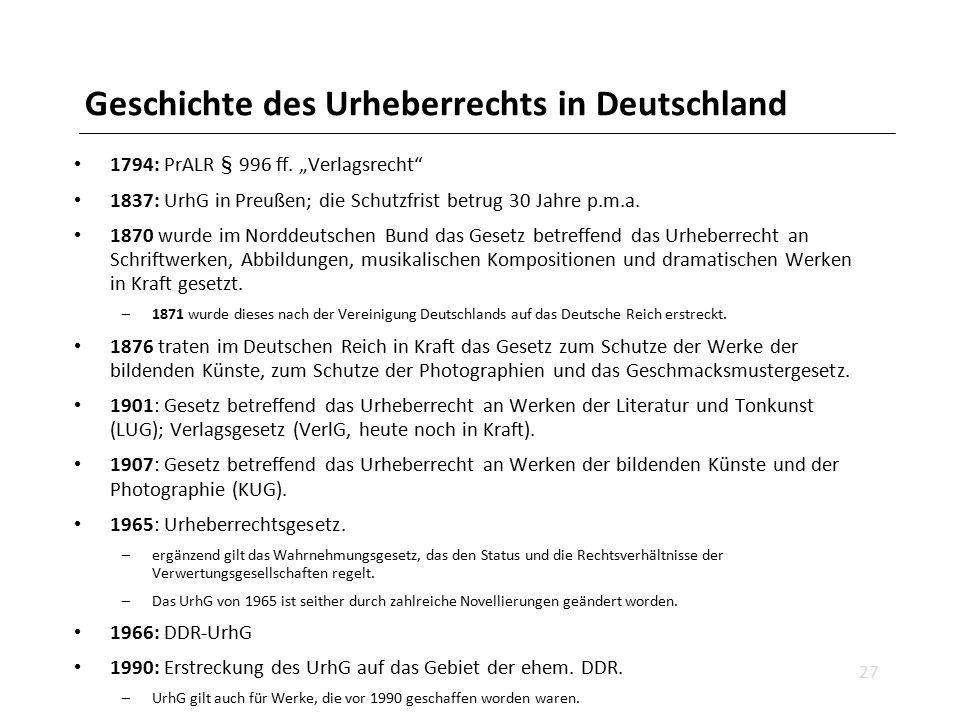 """Geschichte des Urheberrechts in Deutschland 1794: PrALR § 996 ff. """"Verlagsrecht"""" 1837: UrhG in Preußen; die Schutzfrist betrug 30 Jahre p.m.a. 1870 wu"""