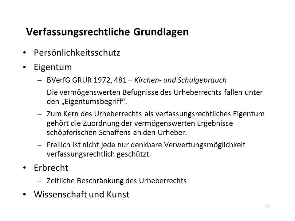 Verfassungsrechtliche Grundlagen Persönlichkeitsschutz Eigentum – BVerfG GRUR 1972, 481 – Kirchen- und Schulgebrauch – Die vermögenswerten Befugnisse