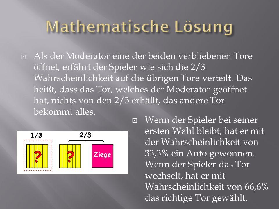  Als der Moderator eine der beiden verbliebenen Tore öffnet, erfährt der Spieler wie sich die 2/3 Wahrscheinlichkeit auf die übrigen Tore verteilt.