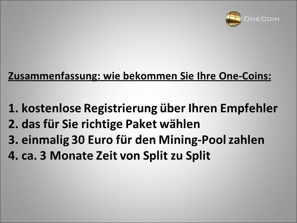 13 Zusammenfassung: wie bekommen Sie Ihre One-Coins: 1. kostenlose Registrierung über Ihren Empfehler 2. das für Sie richtige Paket wählen 3. einmalig