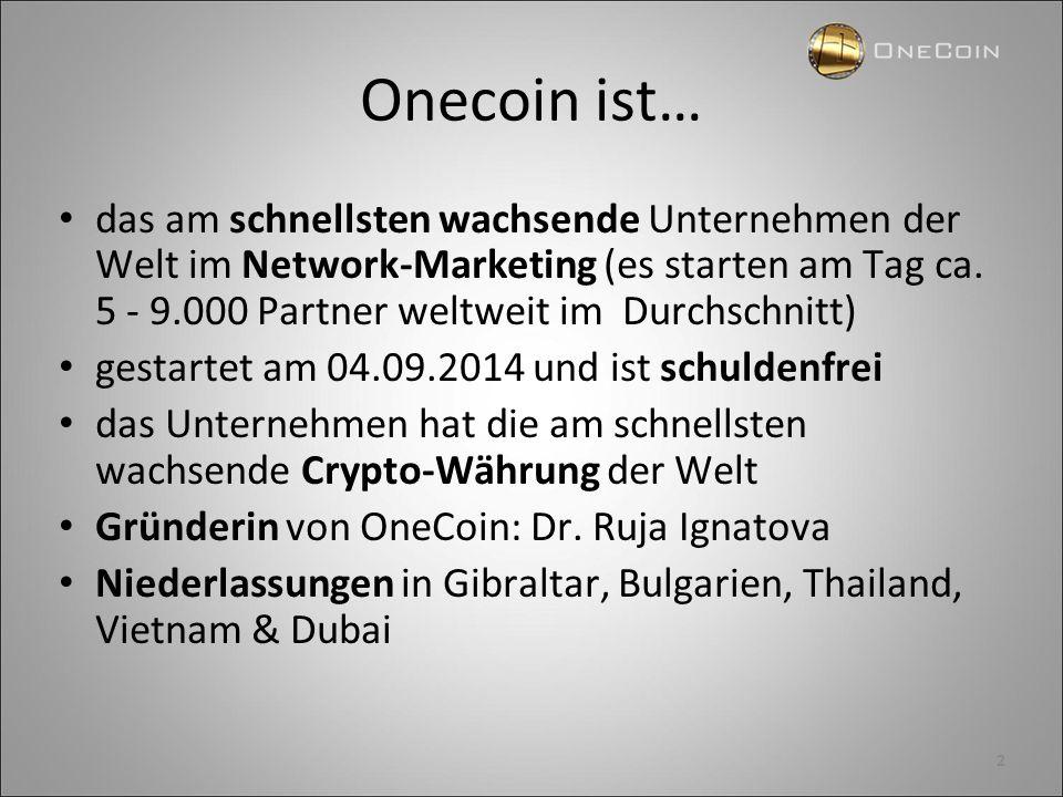 Onecoin ist… das am schnellsten wachsende Unternehmen der Welt im Network-Marketing (es starten am Tag ca. 5 - 9.000 Partner weltweit im Durchschnitt)