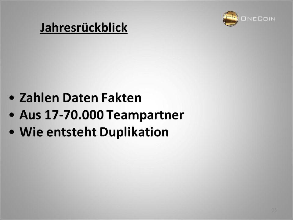 23 Zahlen Daten Fakten Aus 17-70.000 Teampartner Wie entsteht Duplikation Jahresrückblick