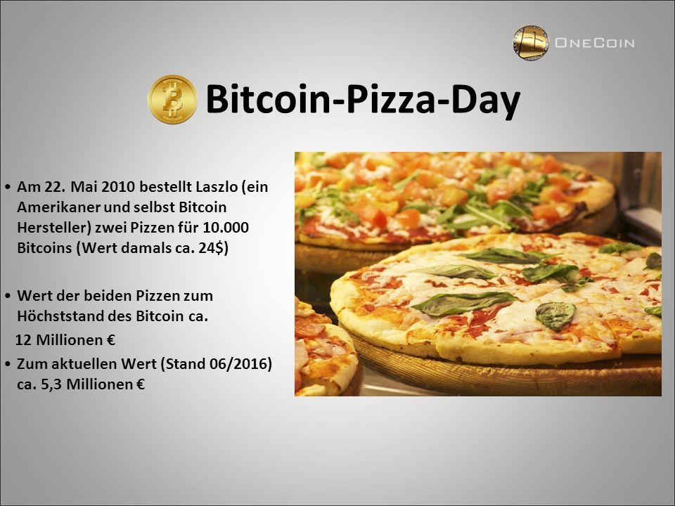 Bitcoin-Pizza-Day Am 22. Mai 2010 bestellt Laszlo (ein Amerikaner und selbst Bitcoin Hersteller) zwei Pizzen für 10.000 Bitcoins (Wert damals ca. 24$)