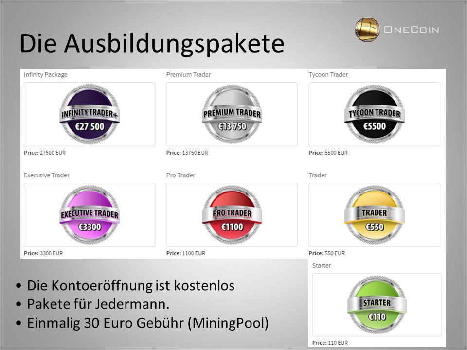 Die Ausbildungspakete Die Kontoeröffnung ist kostenlos Pakete für Jedermann. Einmalig 30 Euro Gebühr (MiningPool)