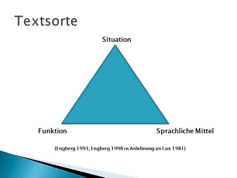FunktionSprachliche Mittel (Engberg 1993, Engberg 1998 in Anlehnung an Lux 1981) Situation