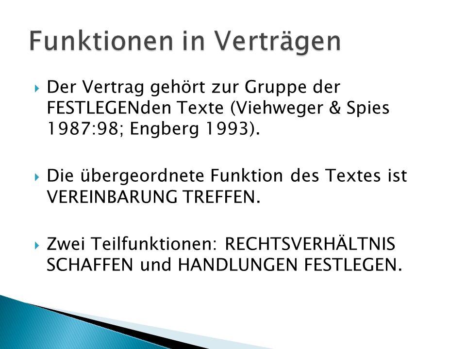  Der Vertrag gehört zur Gruppe der FESTLEGENden Texte (Viehweger & Spies 1987:98; Engberg 1993).
