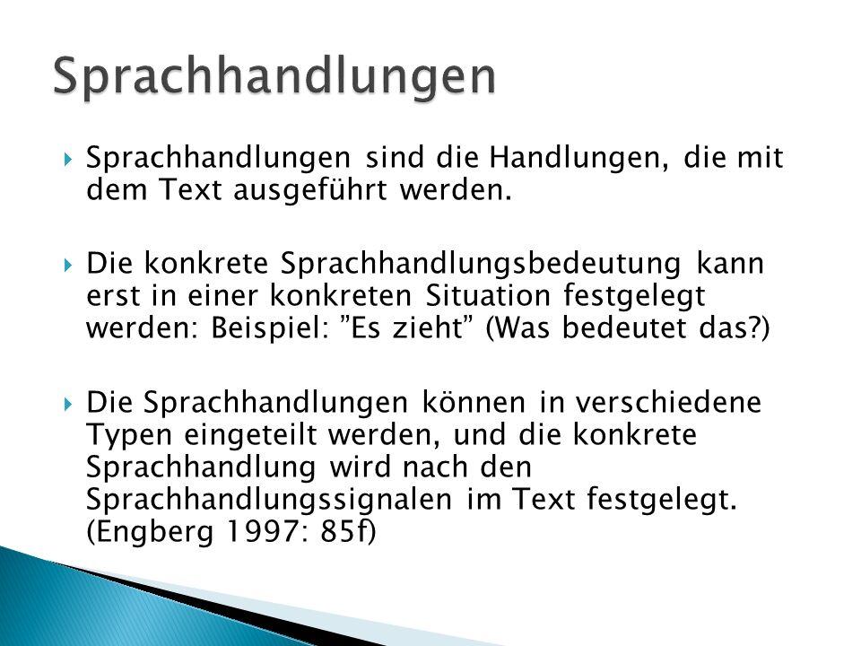  Sprachhandlungen sind die Handlungen, die mit dem Text ausgeführt werden.
