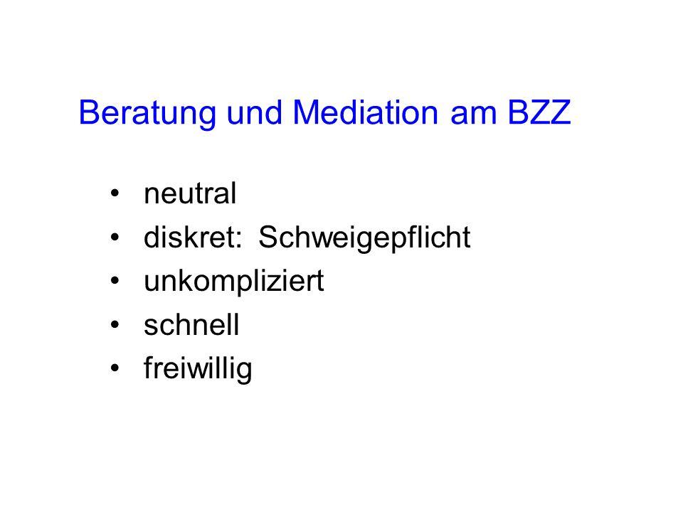Beratung und Mediation am BZZ neutral diskret: Schweigepflicht unkompliziert schnell freiwillig