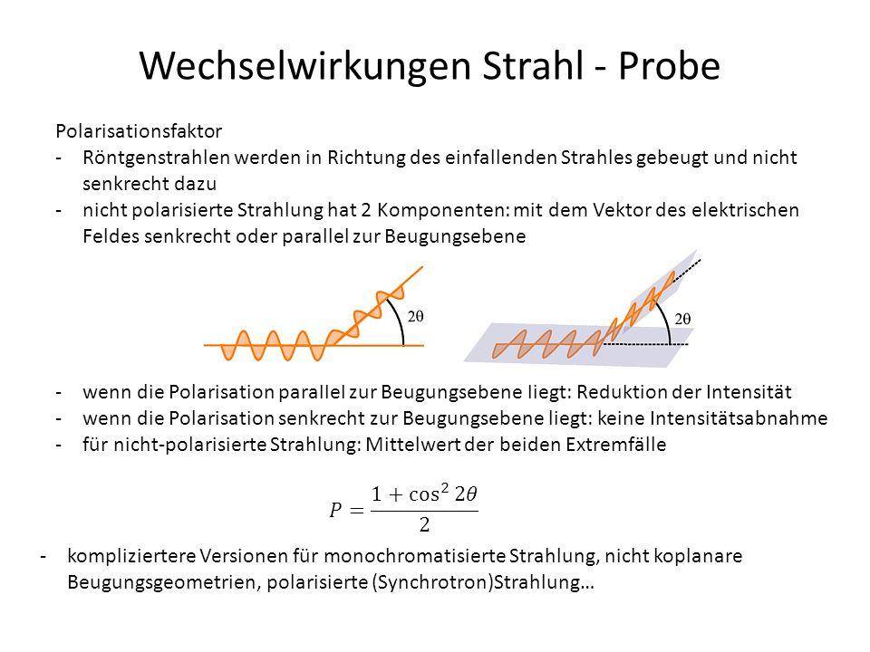 Wechselwirkungen Strahl - Probe Polarisationsfaktor -Röntgenstrahlen werden in Richtung des einfallenden Strahles gebeugt und nicht senkrecht dazu -ni